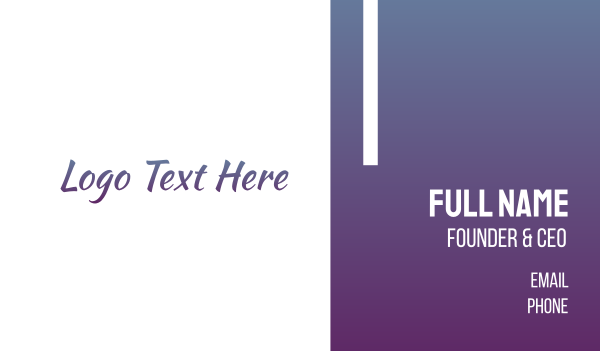 casual - Purple Handwriting Business card horizontal design