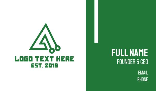 green triangle - Tech A Outline Business card horizontal design