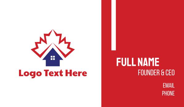 maple leaf - Canadian Housing Business card horizontal design