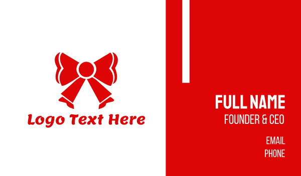 fest - Red Ribbon Business card horizontal design