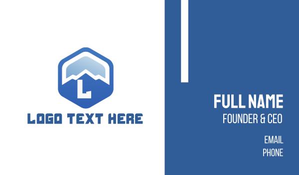 blue hexagon - Blue Mountain Hexagon Business card horizontal design