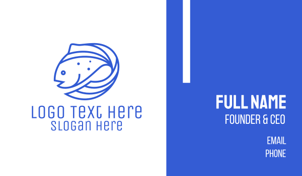 blue fish - Blue Fish Seafood Business card horizontal design