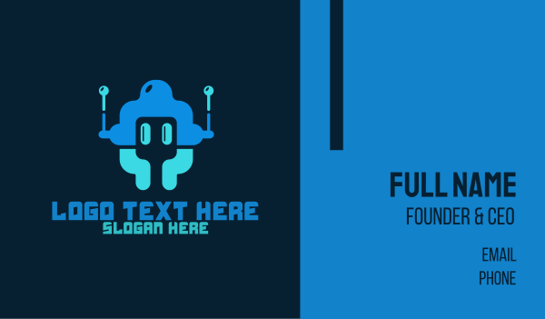 bot - Startup Tech  Robot Business card horizontal design