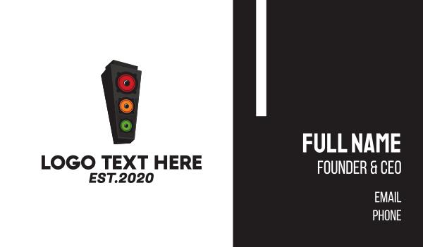 player - Speaker Stoplight Business card horizontal design