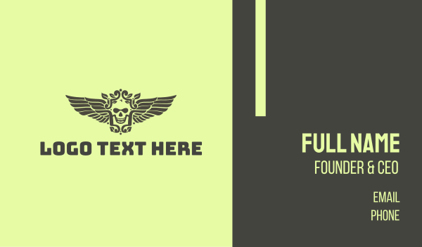 taqueria - Classy Skull Wing  Business card horizontal design