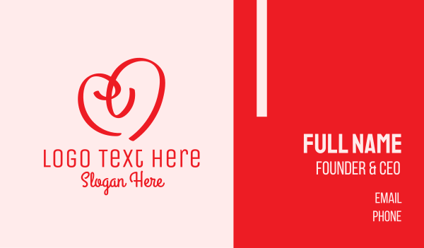 caring - Red Heart Doodle  Business card horizontal design