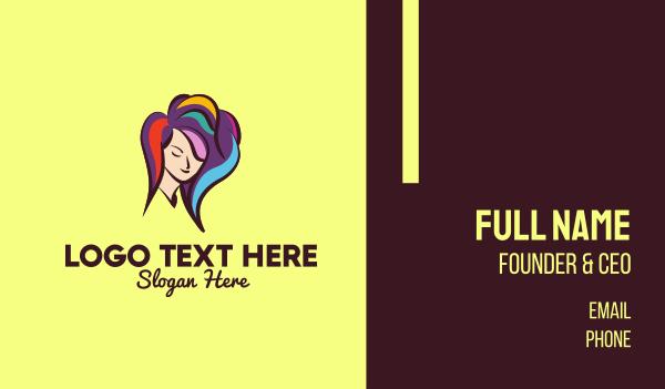 female - Hair Color Stylist Business card horizontal design