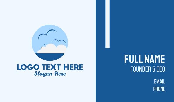 horizon - Ocean Seagulls View Business card horizontal design
