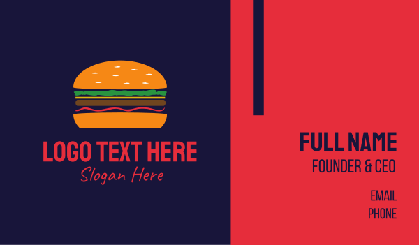 bacon - Bacon Hamburger Burger Business card horizontal design