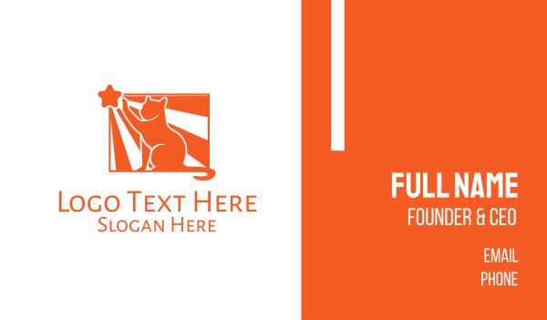 veterinarian - Orange Cat Star Business card horizontal design