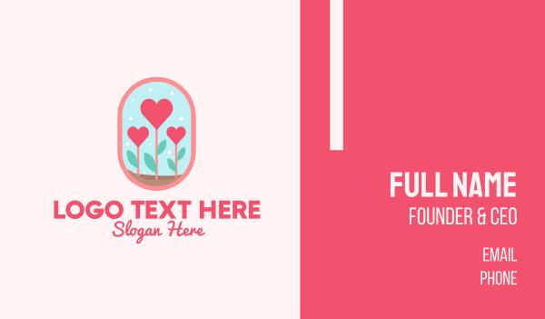 floral shop - Heart Flowers Badge Business card horizontal design