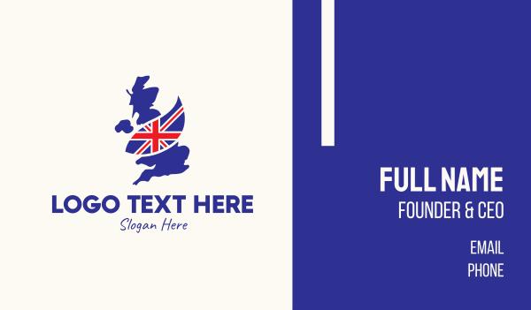 uk - United Kingdom Map Flag Business card horizontal design