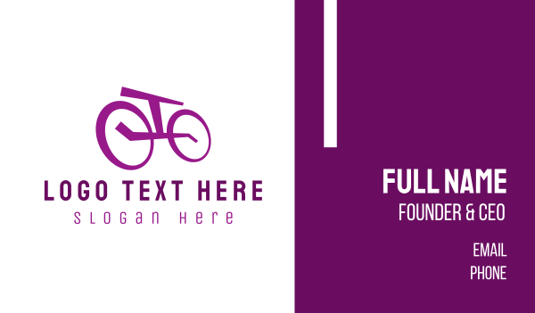 cyclist - Purple Bicycle Business card horizontal design