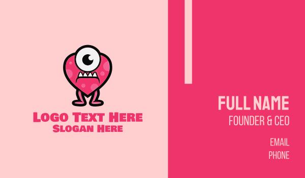 love - Heart Monster Business card horizontal design