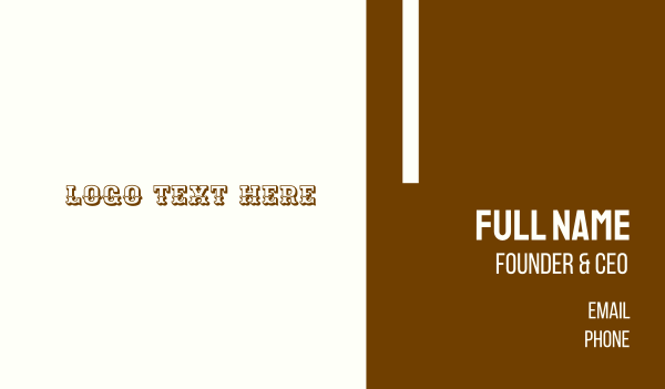southern - Wild West Business card horizontal design