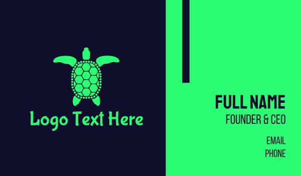 green turtle - Green Sea Turtle Business card horizontal design