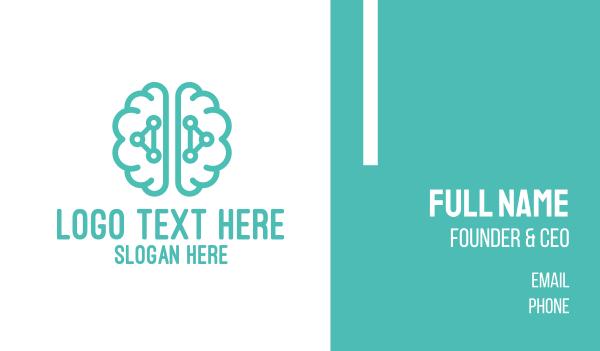 neurological - Teal Brain Logic Business card horizontal design