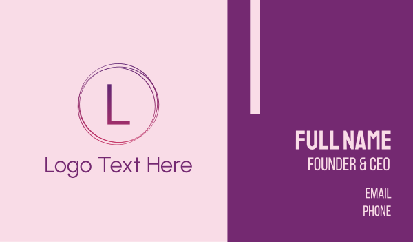 purple girl - Thin Gradient Circle Business card horizontal design