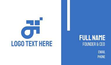 Blue Pixel Arrow Business Card