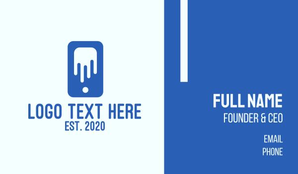 device - Blue Phone Drip Business card horizontal design