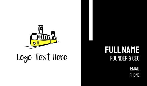railroad - Yellow Tram Business card horizontal design