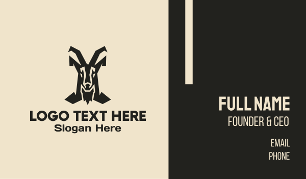 antelope - Mountain Goat Horns Business card horizontal design