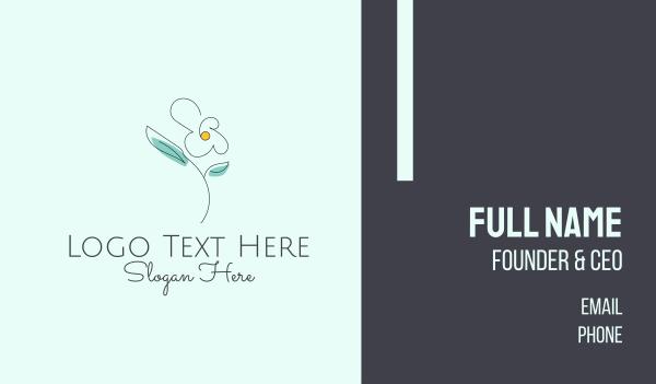 floral shop - Delicate Flower Outline Business card horizontal design
