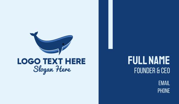 ocean animal - Blue Whale  Business card horizontal design