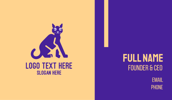 animal shelter - Purple Cat  Business card horizontal design