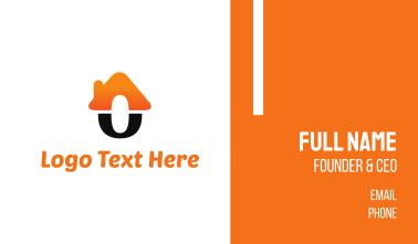 Orange & Black O Home Business Card