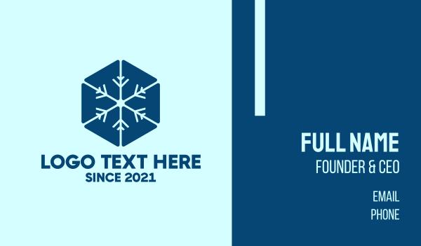 icy - Blue Hexagon Snowflake Business card horizontal design