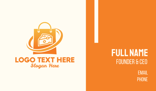 grocery delivery - Cheese Shop Bag Business card horizontal design