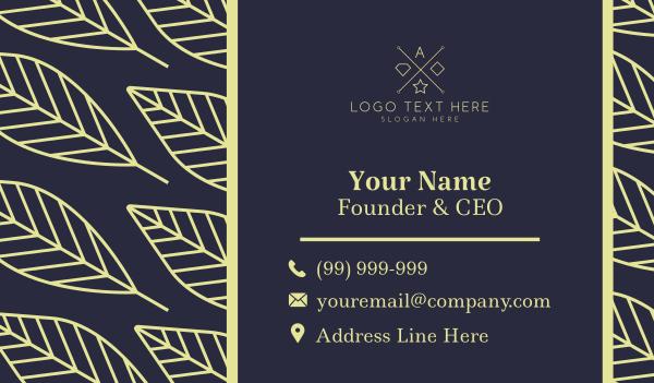 plants - Leaf Pattern Business card horizontal design