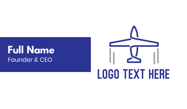 launching - Blue Airplane Lines Business card horizontal design