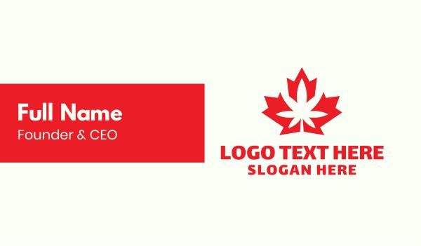 maple leaf - Canadian Cannabis Business card horizontal design