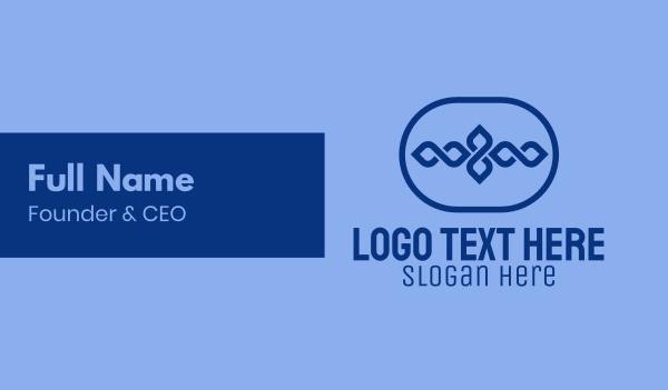 hospitality - Blue Decor Emblem Business card horizontal design