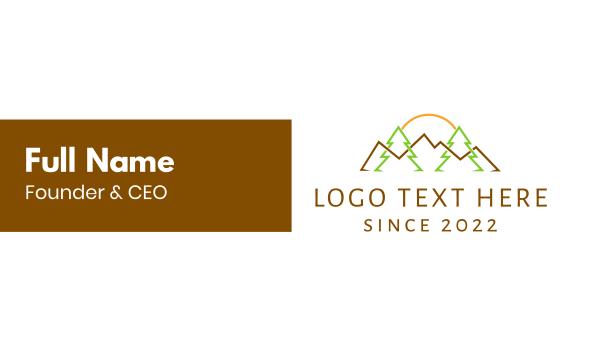 summer camp - Landscape Outlines Business card horizontal design