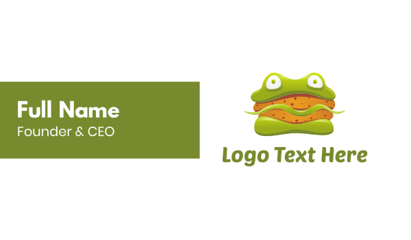 eat - Frog Sandwich Burger Business card horizontal design