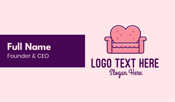 living room - Loveseat Love Couch  Business card horizontal design