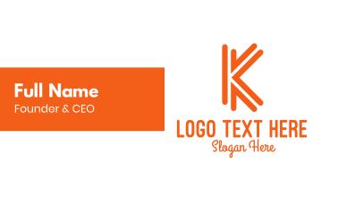 Orange K Outline Business Card