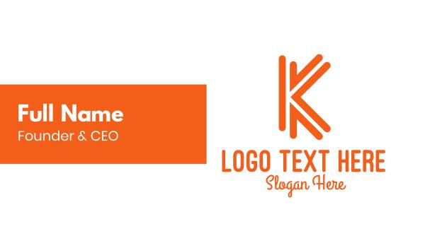 orange - Orange K Outline Business card horizontal design