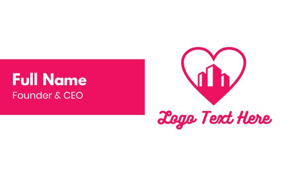 pink tower - Pink Heart Buildings Business card horizontal design
