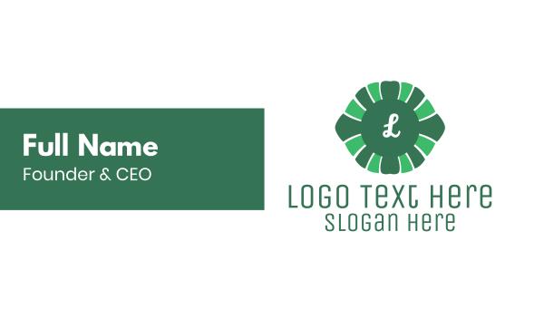Green Floral Lettermark Business Card