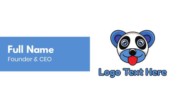 baby supplies - Blue Panda Bear Business card horizontal design