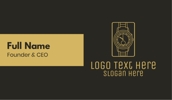 wristwatch - Gold Wristwatch Watch Business card horizontal design