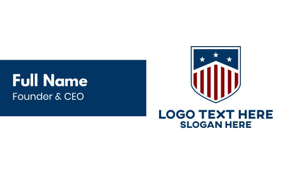 stars and stripes - Modern American Shield Business card horizontal design