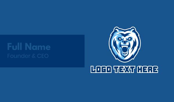 animal mascot - Grizzly Bear Mascot  Business card horizontal design