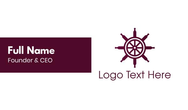 wine tasting - Wine Ship Wheel Helm Business card horizontal design