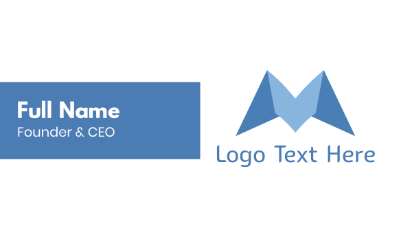 folded - Blue Origami M Business card horizontal design