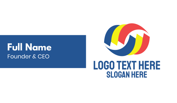 convention - Tri Color Swoosh Business card horizontal design